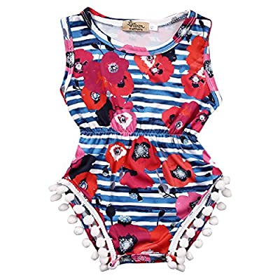 Baby Girls Cute Adorable Floral Romper Sleeveless Romper Jumpsuit Striped Outfit Climbing Clothes