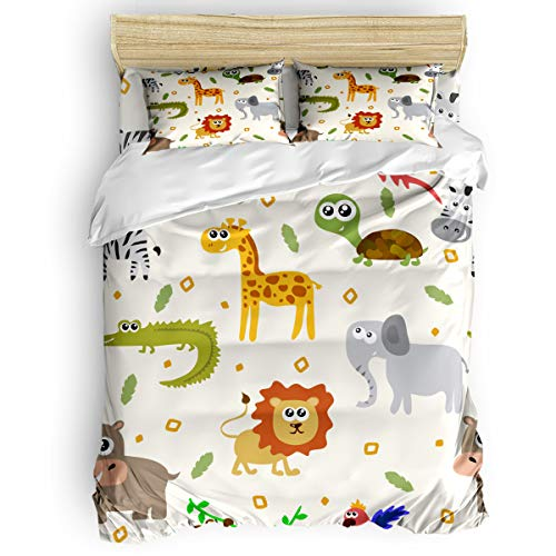 (Trendier Soft Duvet Cover Set Twill Plush Bed Sets for Kids Girls Boys,Cute Zoo Animal Elephant Lion Monkey,4 Piece Include 1 Comforter Cover 1 Bed Sheets 2 Pillow Cases Twin)