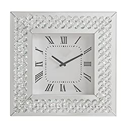 Major-Q 20 Beveled Mirrored Frame Square Wall Clock Faux Crystal Inlay, 9097044