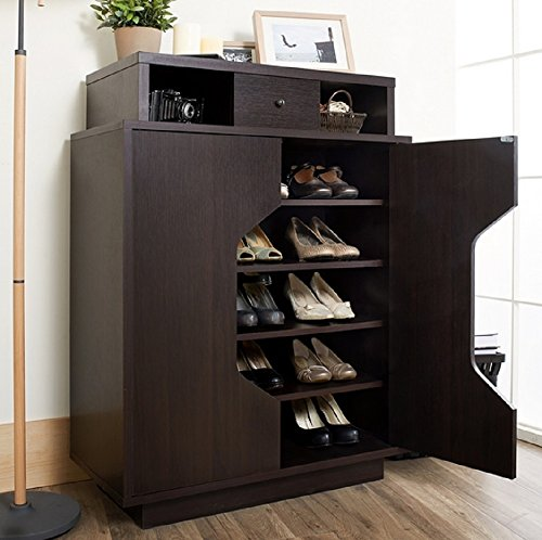 Shoe Cabinet with Five Roomy Shelves, Stores up to 20 Pairs of Footwear