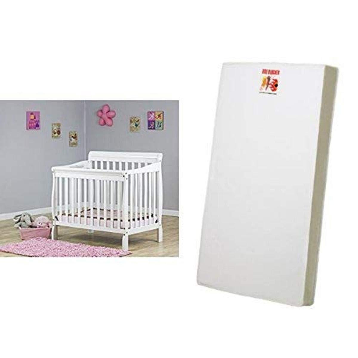 Dream On Me 3 in 1 Aden Convertible Mini Crib, White and 3 Portable Crib Mattress, White