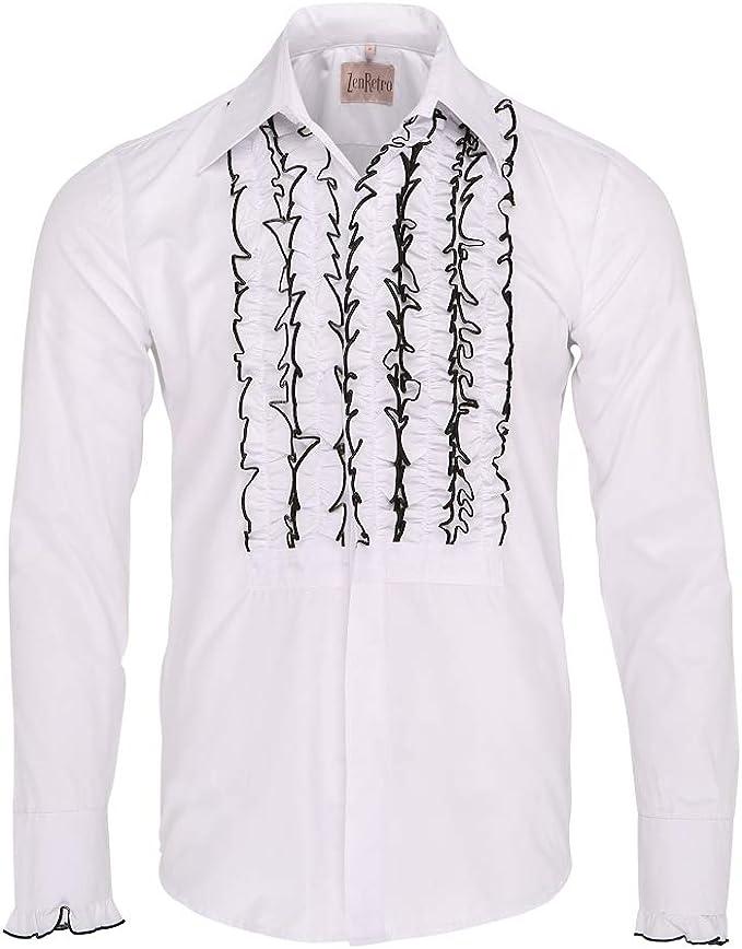 ZenRetro Hombre Blanco/Negro Camisa de Esmoquin de Gala con Volantes L: Amazon.es: Ropa y accesorios