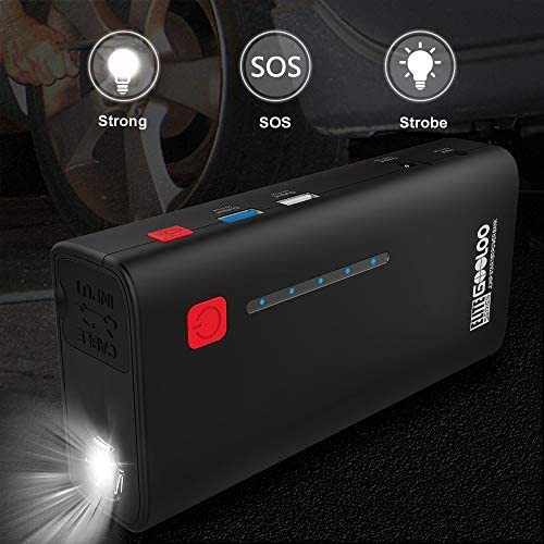 GOOLOO 1200A Peak 18000mAh SuperSecure Car Jump Starter with USB Quick Charge 3.0 (Up to 7.0L Gas or 5.5L Diesel Engine), 12V Portable Power Pack Auto Battery Booster Phone Charger Built-in LED Light
