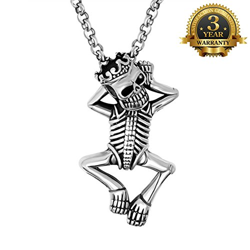W-Q Hip-Hop Funny Retro Cool Skeleton Pendant Titanium Steel Necklace Sautoir For Men Halloween Jewelry.(20