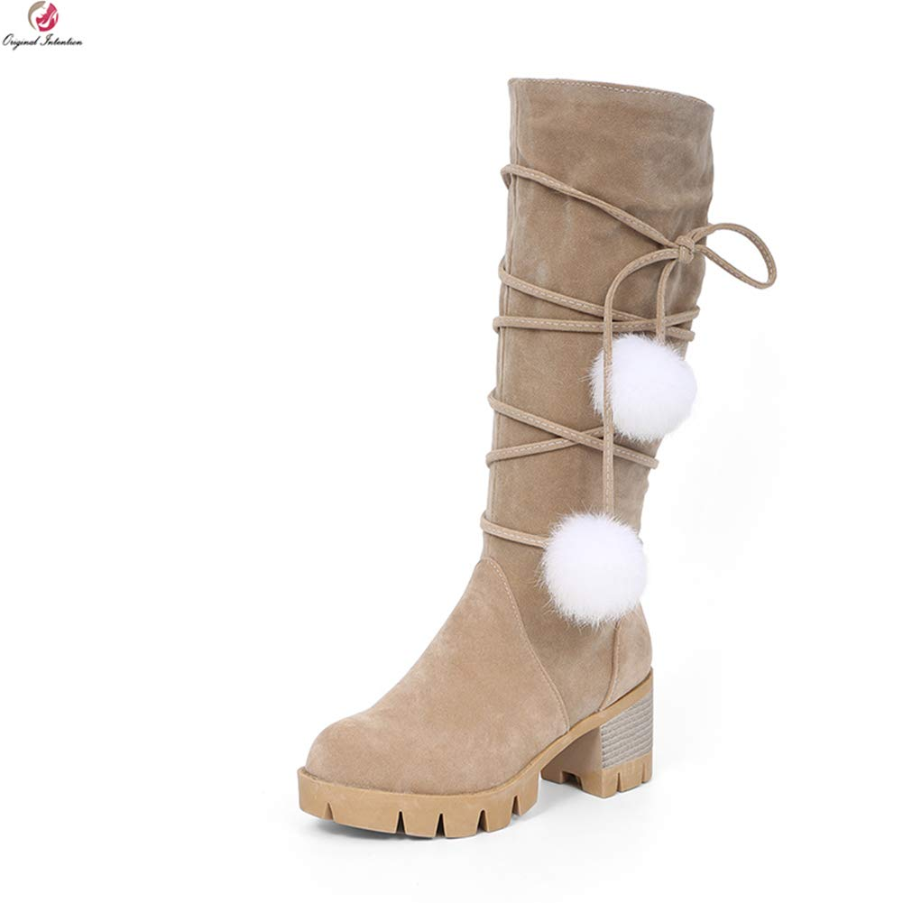 Camel Hoxekle Knee High Boot Women Square High Heel Black Beige Vintage Round Toe Winter Casual Snow Long Boots