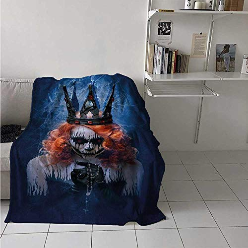 maisi Queen Digital Printing Blanket Queen of Death Scary Body Art Halloween Evil Face Bizarre Make Up Zombie Summer Quilt Comforter 62x60 Inch Navy Blue Orange Black ()