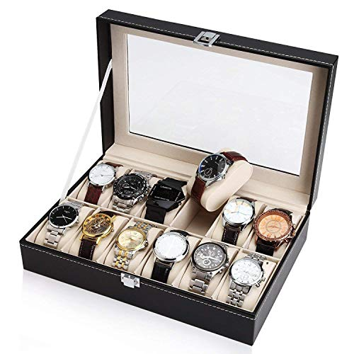 Stitch Accent Pillow - Royal Brands Square Mens Watch Display Box with Glass Top Jewelry Case Organizer (12 Slots)