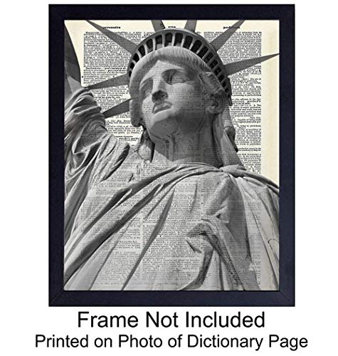 Statue of Liberty New York City Dictionary Art Print - 8X10 Vintage Photo - Great for Living Room, Bedroom or Office - A Perfect Gift for NYC Fans ()
