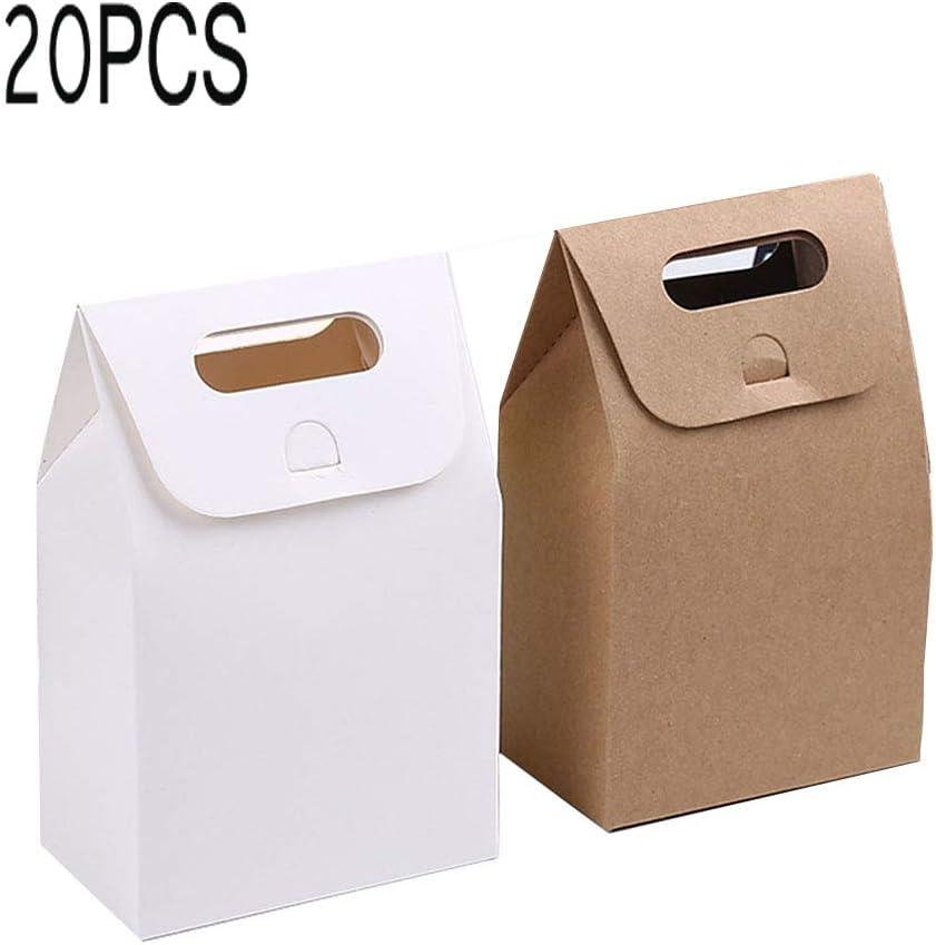 Papel Kraft Caja de Regalo,Bolsa de papel Kraft,Dulces Regalos Cajas,Para el presente del banquete de boda Embalaje Favor Favor Regalo Dulces,10 pcs blanco y 10 pcs marrón