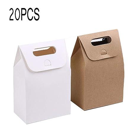 Papel Kraft Caja de Regalo,Bolsa de papel Kraft,Dulces Regalos Cajas,Para el presente del banquete de boda Embalaje Favor Favor Regalo Dulces,10 pcs ...
