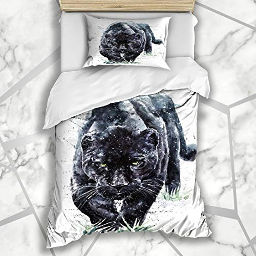 Ahawoso Duvet Cover Sets Twin 68X86 Brush Black Panther Watercolor Drawn Painting Color Jaguar Water Africa Microfiber Bedding with 1 Pillow Shams ()