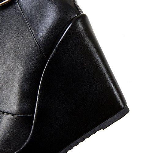 Uh Talons Compensees Femmes À Fermeture Lace De Bottes Et Mode Eclaire Noir La Avec Cheville Blanches Conforts Noires rRqrpxnH