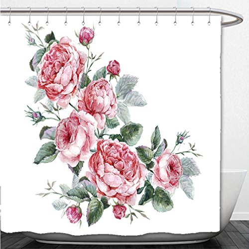 Interestlee Shower Curtain classical vintage floral greeting card watercolor bouquet of english roses beautiful watercolor 300483593 Tiger Woods Christmas Card