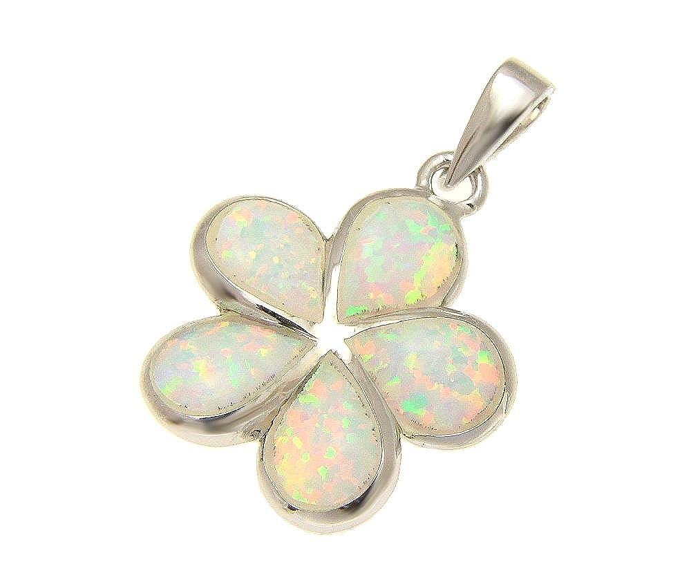 925 Sterling silver white synthetic opal Hawaiian plumeria flower pendant 20mm
