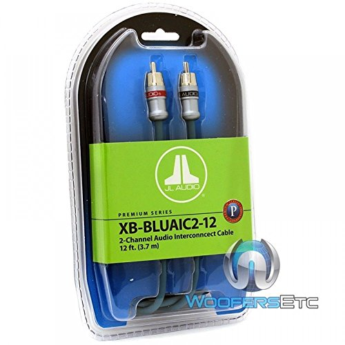 JL Audio XB-BLUAIC2-18 2-Channel Twisted-Pair Audio Interconnect Cable with Machined Connectors, 18-Feet