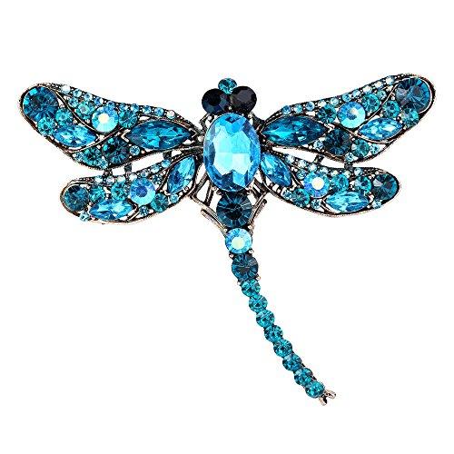 EVER FAITH Dragonfly Gold-Tone Teardrop Brooch Pin Blue Austrian (Animal Pins Dragonfly Jewelry)