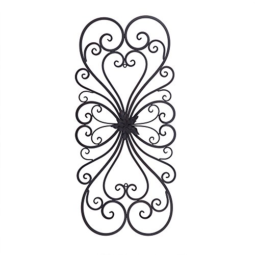 (Adeco Black Scrolled Flower Metal Wall Decor - Art Oblong Living Room Home Decoration - 28.5x13.2 Inches )