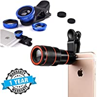 TechSky 8X Mobile Lens Blur Background Effect Telescope HD Lens Kit with DSLR Adjustable Focus HD Pictures with Phone Camera Macro Lens & Wide Angle Lens & Fisheye Lens Clip-On Cell Phone Camera Lens