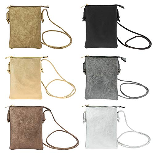 Bulk of lot 24 Wholesale Crossbody Bag with Cell Phone Pocket Wallet in 6 Assorted Metallic (Copper Metallic Leather Handbags)