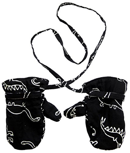 Baby Boys Fleece Mittens Black White Dinosaur Small