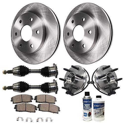 Detroit Axle - 10PC Front CV Axle Shafts, Wheel Hub Bearings, Brake Rotors and Ceramic Pads for Chevy GMC Escalade Avalanche Suburban Tahoe Yukon Sierra Silverado 1500 ()