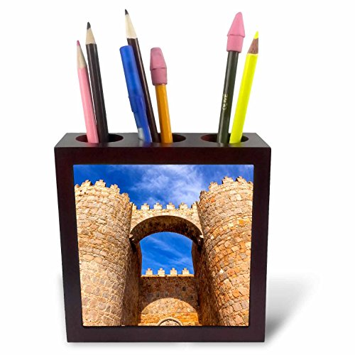 3dRose Danita Delimont - Architecture - Looking up at the Gate Alcazar, Avila, Castile, Spain - 5 inch tile pen holder (ph_257898_1) by 3dRose
