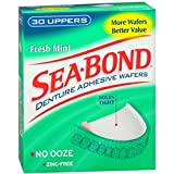 SEA-BOND Denture Adhesive Wafers Uppers Fresh Mint 30 Each (Pack of 3)