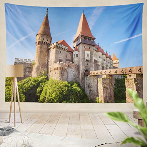 "ONELZ Decor Collection,Corvin Castle is A Gothic Renaissance Castle in Hunedoara Transylvania Romania Bedroom Living Room Dorm Wall Hanging Tapestry 60"" L x 80"" W Polyester & Polyester Blend"