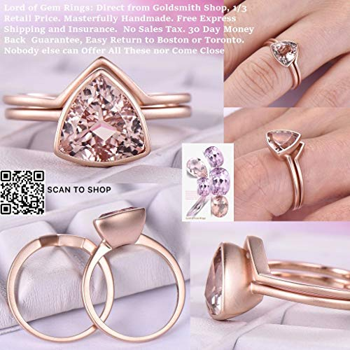 (Trillion Cut Morganite Engagement Ring Set 14K Rose Gold 9mm)