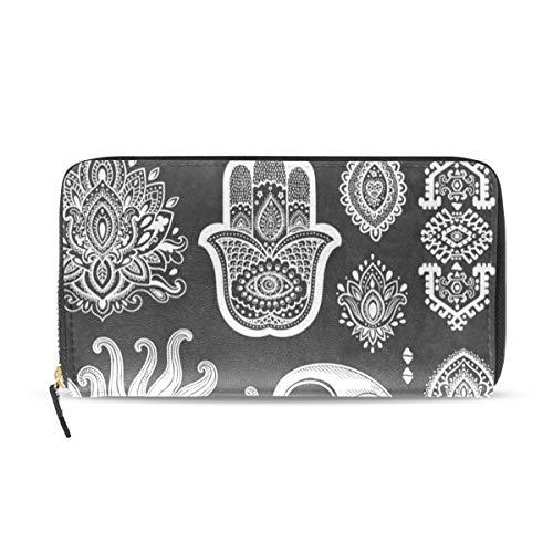 Womens Wallets Black White Sun Moon Face Water Lily Leather Passport Wallet Change Purse Zip Handbags ()