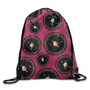 Solar System Galaxy Space Print Drawstring Backpack Lightweight Gym Bag Backpack Bag