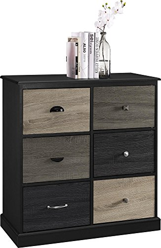 Ameriwood Home Mercer 6 Door Storage Cabinet with Multicolored Door Fronts, Black