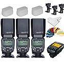 Yongnuo yn600ex-rt 3pcs ETTLラジオHSS 1 / 8000sスピードライト+ yne3-rt無線送信機+ 3つBタイプフラッシュ回転式ブラケット+ 3つフラッシュディフューザー+ Inseesiクリーン布+ 20色Gels for Canonカメラ