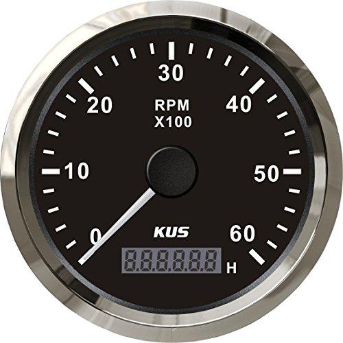 KUS Tachometer RPM Gauge REV Meter with Hour Meter 0-6000RPM 85mm 12V/24V with -