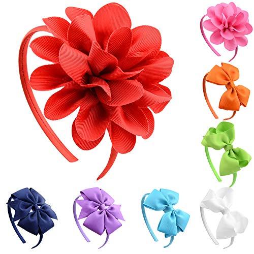 (Aneco 8 Pieces Girls Bow Headband Grosgrain Ribbon Headband with Bows, 4 Styles)