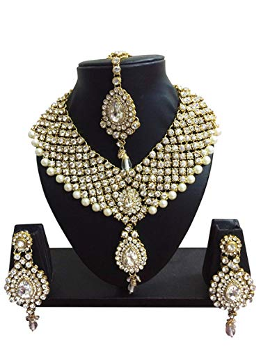 CROWN JEWEL Indian Bollywood Style Diamante Pearl Gold Tone Bridal Fashion Jewelry Set for Women (White)