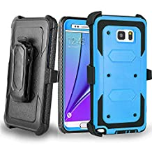 Galaxy Note 5 Case - Jwest[Heavy Duty] [Shock Proof] Full Body Rugged Holster Note 5 Cover with Swivel Belt Clip Kickstand Dual Layer Shock Resistant Samsung Galaxy Note 5 Case 5.7 Inch (Blue)