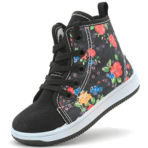 (Canvas Sneakers Shoes for Toddler Girls Infant Baby Strap Soft Comfortable Easy Walk (3 M US T, Black Flowers))