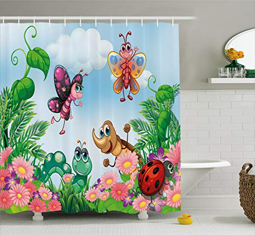 Ambesonne Garden Shower Curtain, Gardening Theme Illustration of Butterfly Ladybug Worm Flowers and Grass, Fabric Bathroom Decor Set with Hooks, 70 Inches, Green Pink