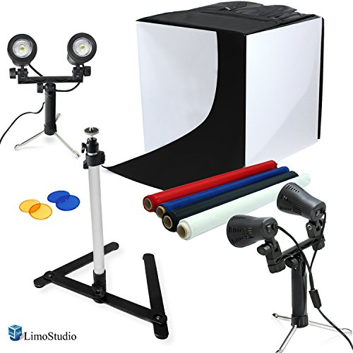 "LimoStudio 24"" Table Top Photography Studio Light Tent Kit in a Box - Photo Tent, 2x Double Head Light Set, Mini Camera Stand, 2x GU10 Light Bulbs, AGG903"