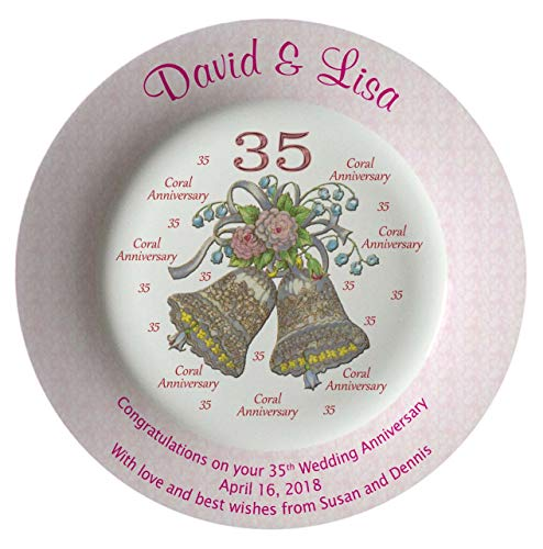 Heritage Pottery Personalized Bone China Commemorative Plate for A 35th Wedding Anniversary - Wedding Bells Design with A Pink Rim