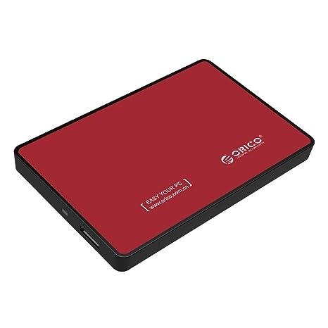 ORICO - 2,5 Pulgadas SATA 3.0 a USB 3.0 Carcasa Disco Duro Externo Notebook - Libre de Herramientas para HDD/SSD de 9.5mm y 7mm - LED Indicador - Rojo