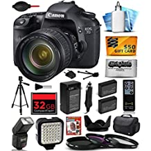 Canon EOS 7D 18 MP CMOS Digital SLR Camera with 28-135mm f/3.5-5.6 IS USM Lens includes 32GB Memory + Large Case + Tripod + Flash + LED Video Light + Two Extra Batteries + Travel Charger + Lens Hood +