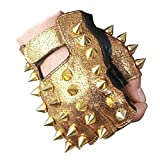 IXIMO Fingerless Metal Mittens Rivet Holow Out Leather Rock Punk Style Show Gloves Gold