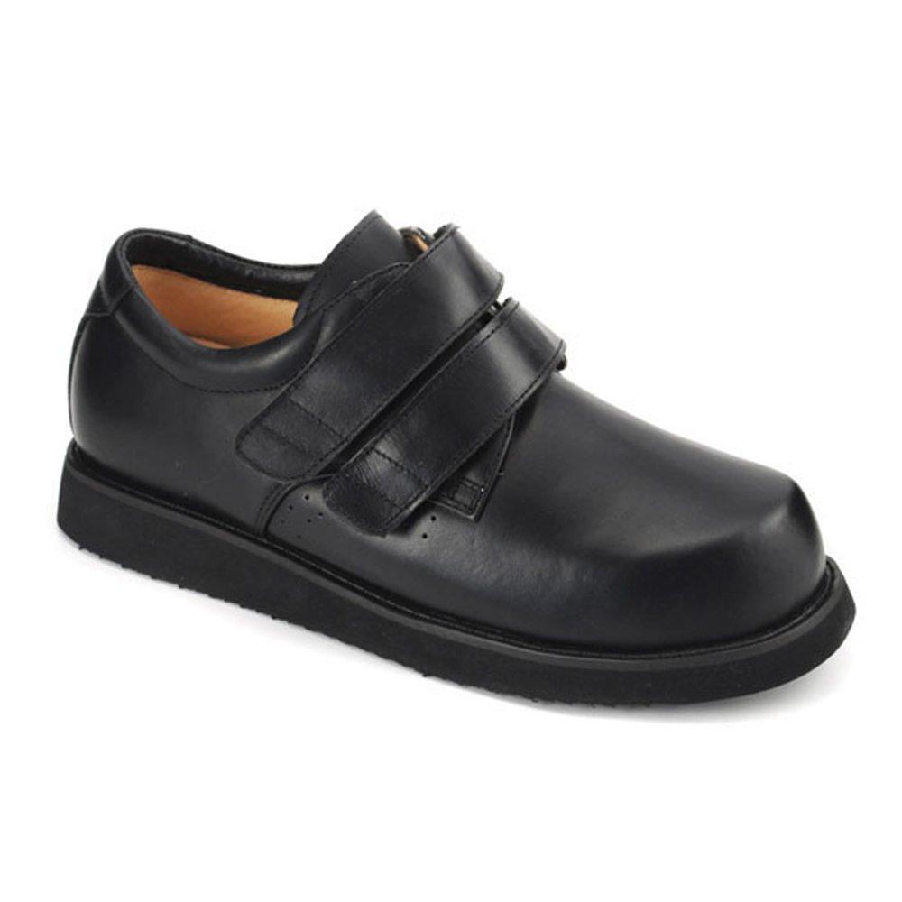 Apis Mt. Emey 802 Men's Therapeutic Extra Depth Shoe Leather Velcro -7.0 X-Wide (4E) Black Velcro US Men Black