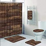 Philip-home 5 Piece Banded Shower Curtain Set Seamless Wood Floor Texture Hardwood Floor Texture Pattern Printing Suit