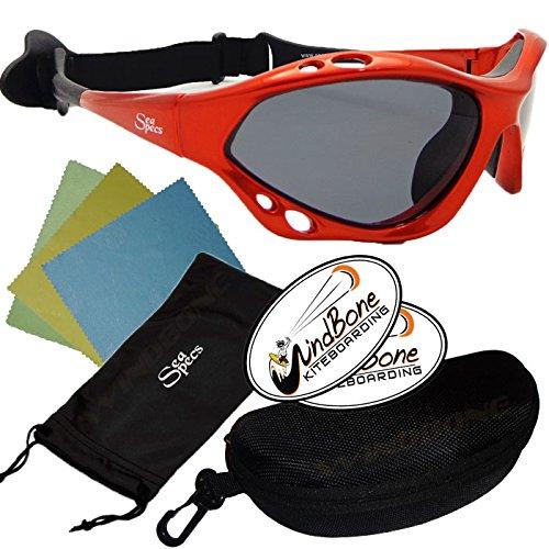 SeaSpecs Classic Copper Blaze Specs Bronze Water Sports Floating Sunglasses w Semi Rigid Case Bundle (5 Items)+ Flex Clip Case +Soft Carry Pouch + Lens Cloth + WindBone Kiteboarding Lifestyle - For Watersports Sunglasses