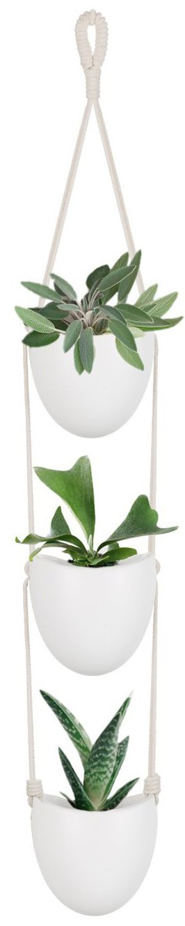 Mkono Ceramic Hanging Planter with 3 Flower Pots Succulent Air Plant Holder Wall Decor