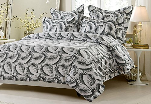 5pc Black and White Feather Design Duvet Cover Set Style # 1039 - Full/Queen - Cherry Hill Collection (Discount Bed Sheet Sets)