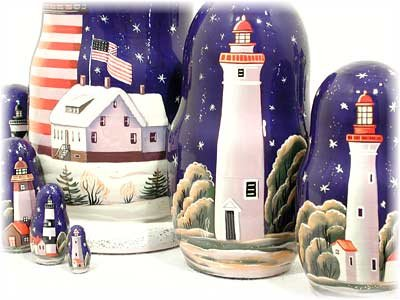 Lighthouses in the Night Russian Nesting Doll 7pc./8'' by Golden Cockerel (Image #4)